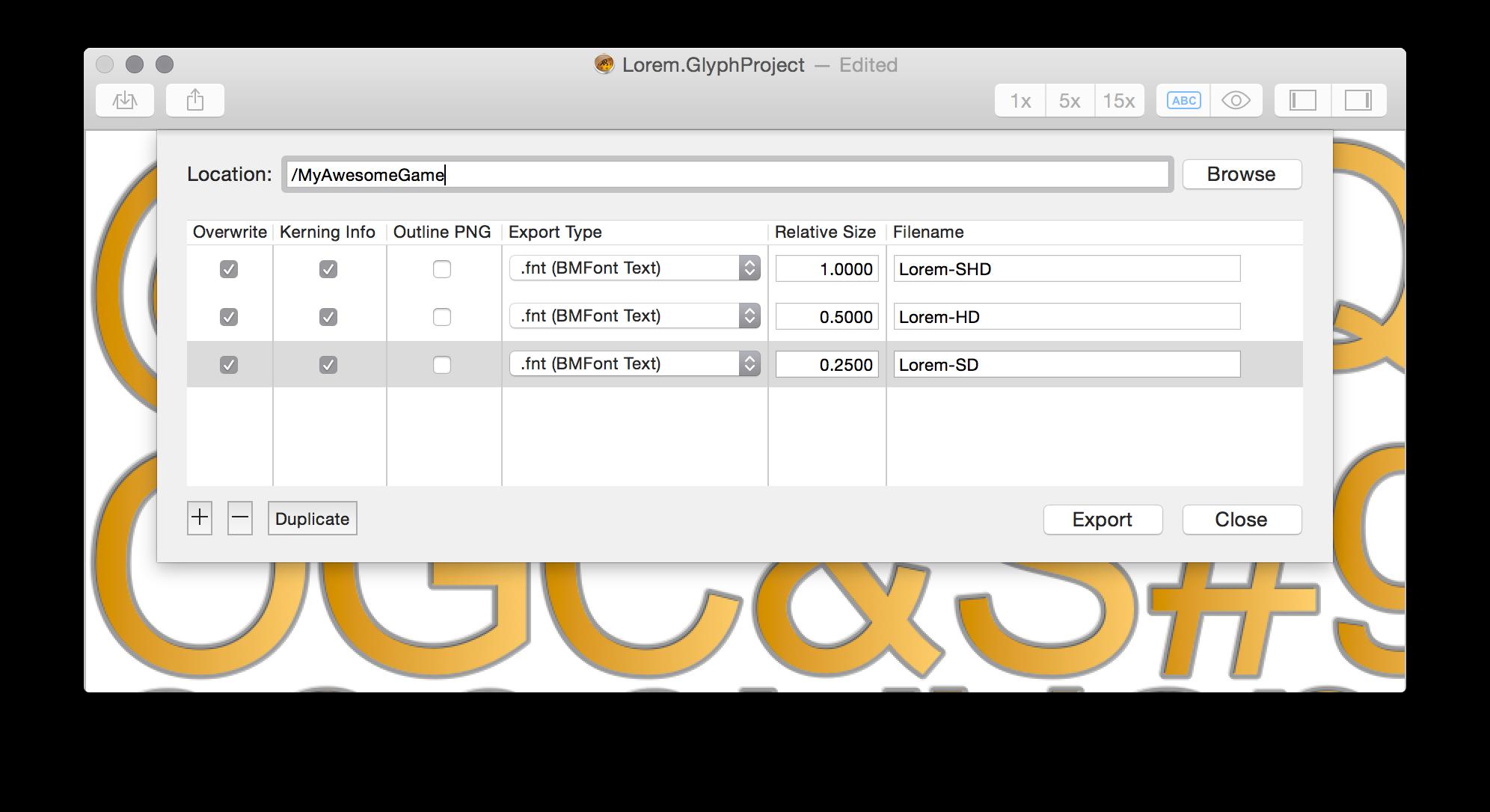 Glyph Designer - A Bitmap Font Generator for Mac · 71Squared
